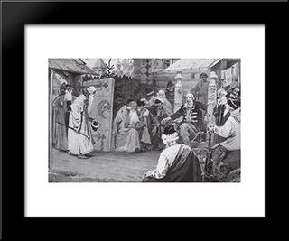 At The Council. Sketch.: Modern Black Framed Art Print by Mikhail Nesterov