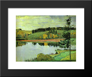 Autumn: Modern Black Framed Art Print by Mikhail Nesterov