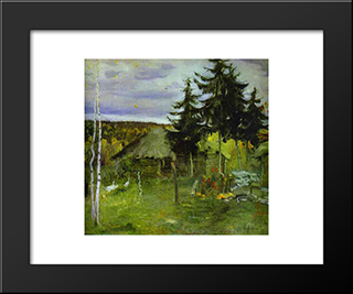 Autumn In A Village: Modern Black Framed Art Print by Mikhail Nesterov