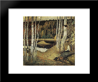 Autumn Landscape: Modern Black Framed Art Print by Mikhail Nesterov