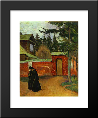 By A Monastery Entrance: Modern Black Framed Art Print by Mikhail Nesterov