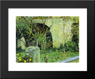 Capri. Almond Trees In Blossom.: Modern Black Framed Art Print by Mikhail Nesterov