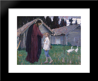 Christ Blesses Bartholomew: Modern Black Framed Art Print by Mikhail Nesterov