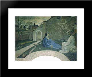 Christ With Martha And Mary: Modern Black Framed Art Print by Mikhail Nesterov