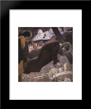 Crucifixion: Modern Black Framed Art Print by Mikhail Nesterov