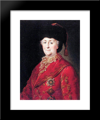 Portrait Of Empress Catherine Ii With Traveling Dress: Modern Black Framed Art Print by Mikhail Shibanov