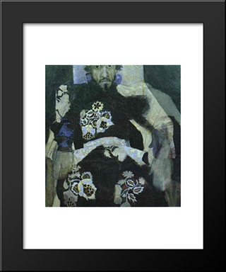 A Man In A Russian Old Style Costume: Modern Black Framed Art Print by Mikhail Vrubel