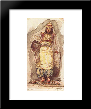 A Model With Eastern Dress: Modern Black Framed Art Print by Mikhail Vrubel