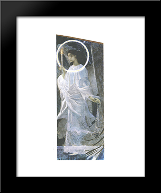 Angel With Censer And Candle: Modern Black Framed Art Print by Mikhail Vrubel