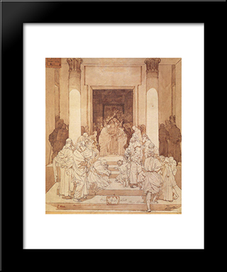 Betrothal Of Mary And Joseph: Modern Black Framed Art Print by Mikhail Vrubel
