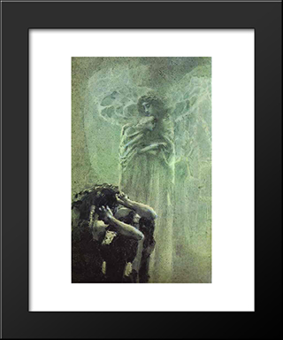 Demon And Angel With Tamara'S Soul: Modern Black Framed Art Print by Mikhail Vrubel