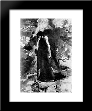 Demon By The Walls Of Monastery: Modern Black Framed Art Print by Mikhail Vrubel