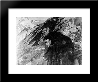 Demon Looking To The Valley: Modern Black Framed Art Print by Mikhail Vrubel