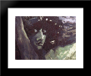 Head Of Demon With Mountains: Modern Black Framed Art Print by Mikhail Vrubel