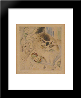 Cat: Modern Black Framed Art Print by Mily Possoz