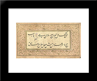 An Album Of Nasta'Liq Calligraphy: Modern Black Framed Art Print by Mir Ali Tabrizi