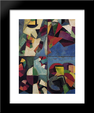 Four Part Synchromy, Number 7: Modern Black Framed Art Print by Morgan Russell