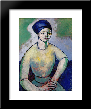 Study Of A Girl (Fanette Reider): Modern Black Framed Art Print by Morton Shamberg