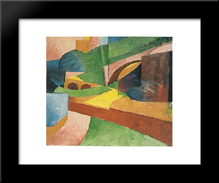 Untitled (Landscape With Bridge): Modern Black Framed Art Print by Morton Shamberg