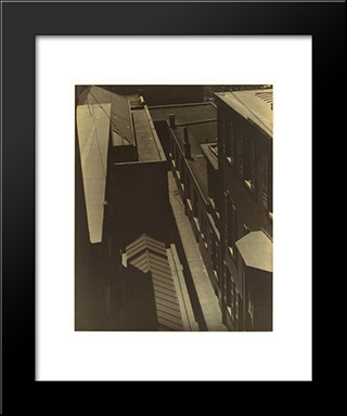 View Of Rooftops: Modern Black Framed Art Print by Morton Shamberg