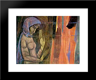 A Girl: Modern Black Framed Art Print by Mykhailo Boichuk