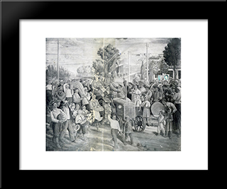 Frescoes Of Kharkiv Chervonozavodsky Theatre - The Holiday Of Harvest: Modern Black Framed Art Print by Mykhailo Boichuk