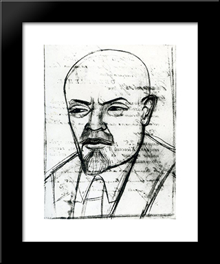 Portrait Of Vladimir Lenin: Modern Black Framed Art Print by Mykhailo Boichuk