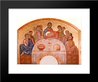 The Last Supper: Modern Black Framed Art Print by Mykhailo Boichuk