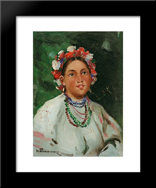 A Girl.: Modern Black Framed Art Print by Mykola Pymonenko