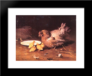 A Hen: Custom Black Or Gold Ornate Gallery Style Framed Art Print by Mykola Pymonenko