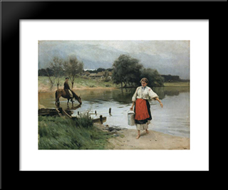 At The River: Modern Black Framed Art Print by Mykola Pymonenko