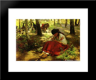 At The Shadow: Modern Black Framed Art Print by Mykola Pymonenko