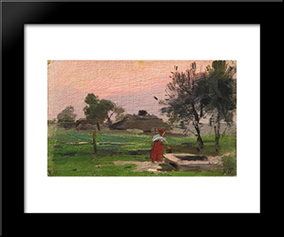 At The Well: Modern Black Framed Art Print by Mykola Pymonenko