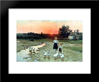 Becoming The Evening: Modern Black Framed Art Print by Mykola Pymonenko