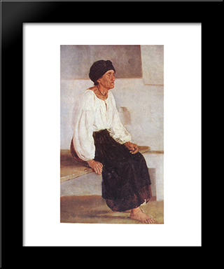 Blind Old Woman: Modern Black Framed Art Print by Mykola Pymonenko