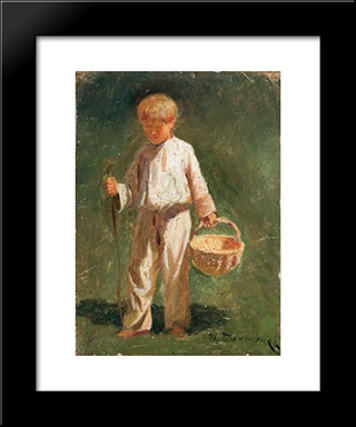 Boy With A Basket: Modern Black Framed Art Print by Mykola Pymonenko