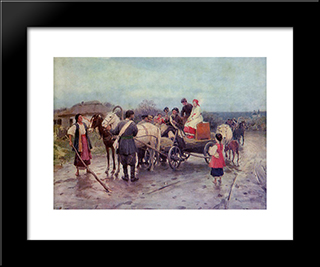 Buying Out The Bride: Modern Black Framed Art Print by Mykola Pymonenko