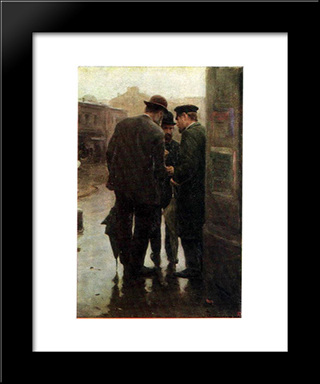 Conversation: Modern Black Framed Art Print by Mykola Pymonenko