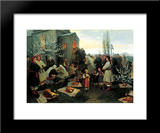 Easter Morning Prayer In Malorosia: Modern Black Framed Art Print by Mykola Pymonenko