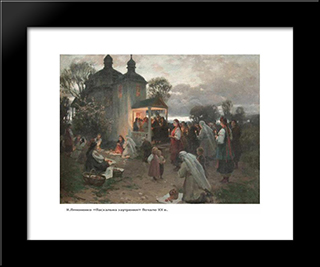 Easter Vigil: Modern Black Framed Art Print by Mykola Pymonenko