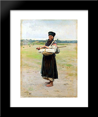 Fabric Trading Woman: Modern Black Framed Art Print by Mykola Pymonenko