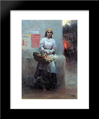 Flower-Girl: Modern Black Framed Art Print by Mykola Pymonenko