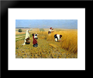 Harvest Gathering In Ukraine: Modern Black Framed Art Print by Mykola Pymonenko