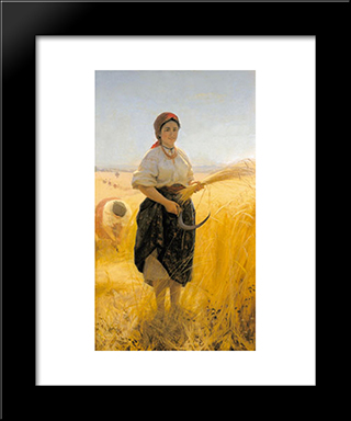 Harvester: Modern Black Framed Art Print by Mykola Pymonenko