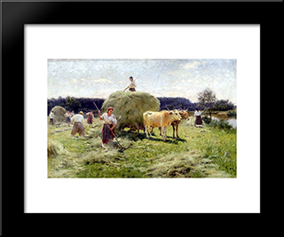 Haymaking: Modern Black Framed Art Print by Mykola Pymonenko