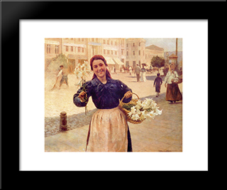 Kiev Flower Girl: Modern Black Framed Art Print by Mykola Pymonenko