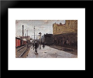 Kiev Station: Modern Black Framed Art Print by Mykola Pymonenko