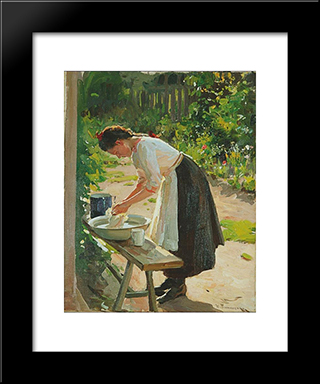 Laundry: Modern Black Framed Art Print by Mykola Pymonenko
