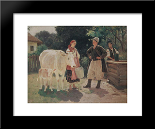 Meeting At The Well: Modern Black Framed Art Print by Mykola Pymonenko