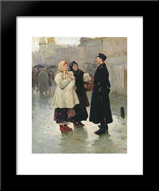 Meeting With Fellow: Modern Black Framed Art Print by Mykola Pymonenko